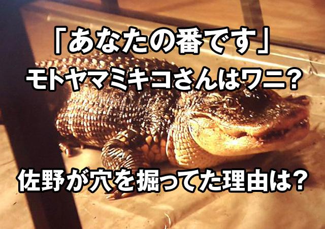 あな番のモトヤマミキコ本山幹子さんはワニ?佐野が穴掘ってた理由はエサを捨てていた?