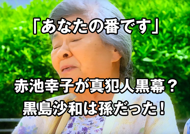 赤池 の おばあちゃん あなたの番です最終回のラストで赤池おばあちゃんが殺されドラマが終....